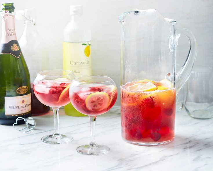 Prosecco Cocktail - Raspberry Lemonade Prosecco Punch Cocktail for a Crowd