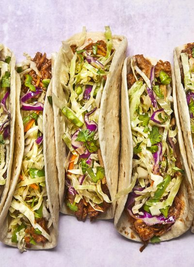 PULLED PORK TACOS WITH ASIAN SLAW