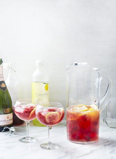 Summer Cocktail - Raspberry Lemonade Rose Prosecco Punch